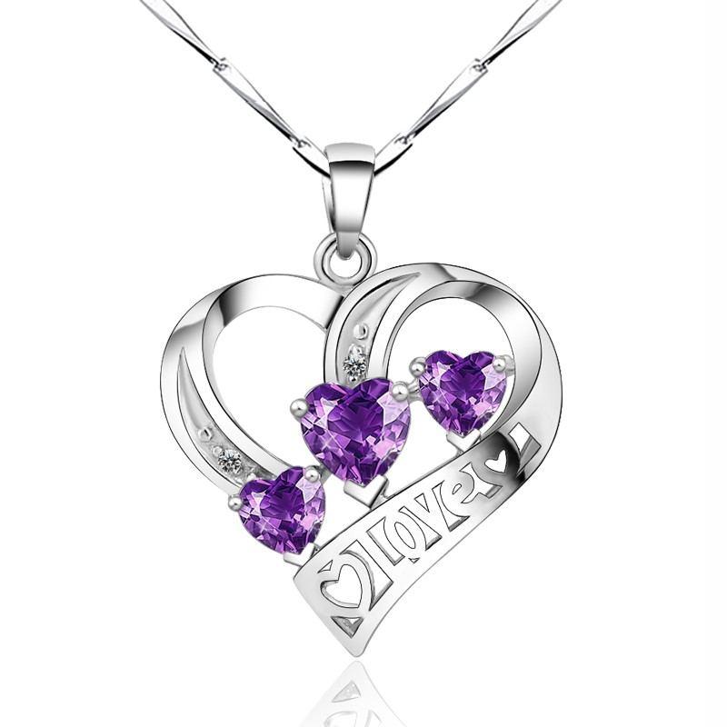 925 Silber Exquisite Handwerkskunst Einfache Herzförmige Halskette