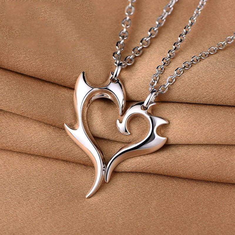925 Silber Kreative Liebe Herz Nähen Liebhaber Halsketten