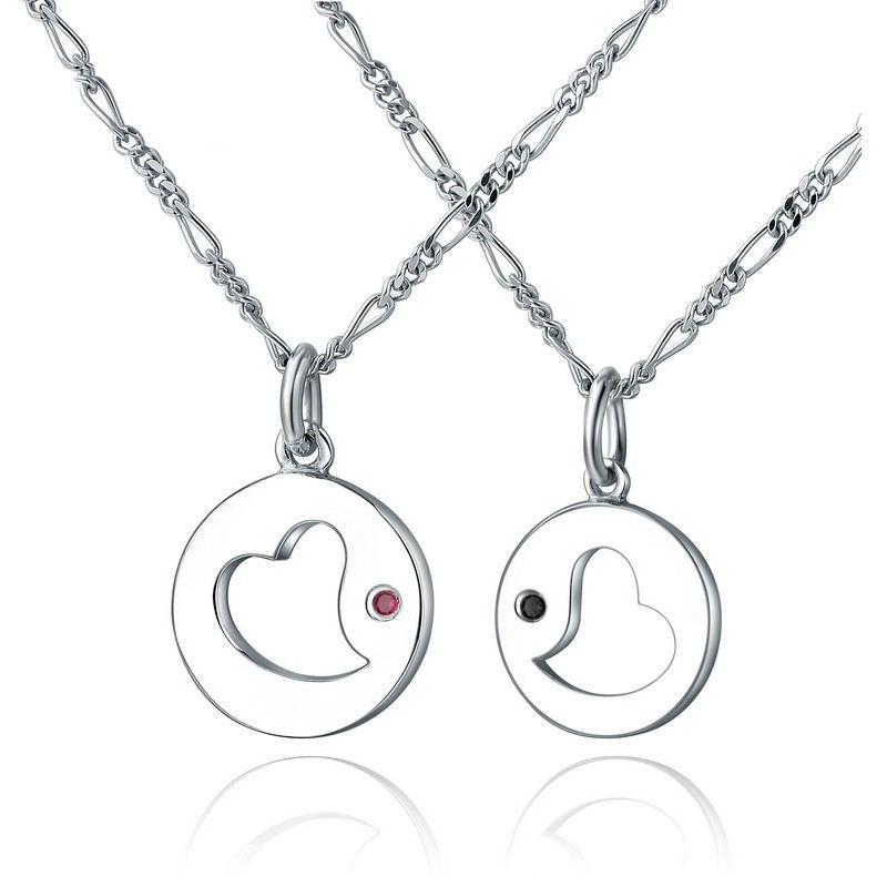 925 Silberne Hohle Herzförmige Runde Anhänger Liebhaber Halsketten