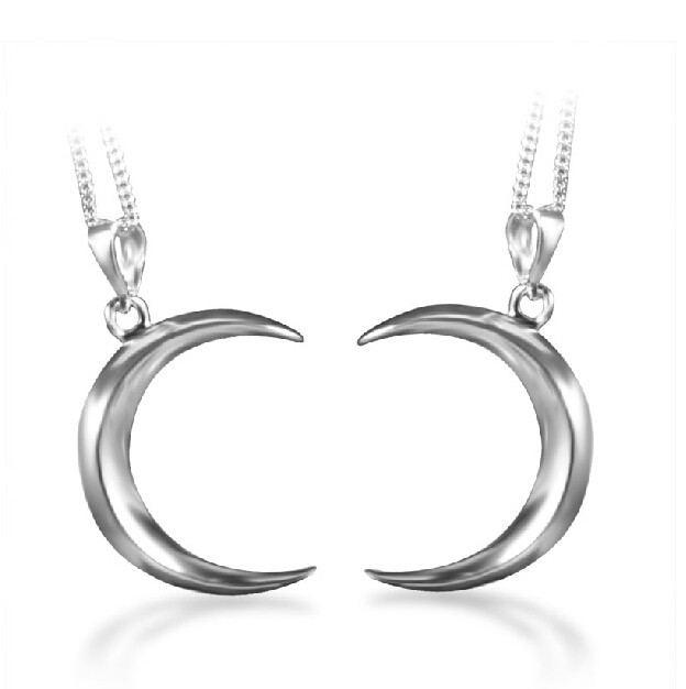 925 Sterling Silber Halbmond Paar Halskette (Preis Für Ein Paar)