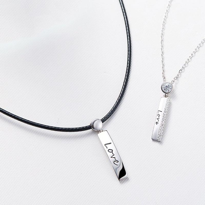 """Elegante Mode 925 Silber Einfachheit Brief """"Have Mutual Affinity"""" Liebhaber Halsketten"""