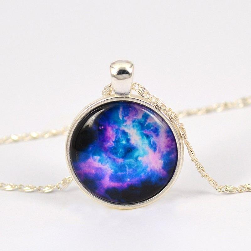Erstaunlicher Blauer Planet Musterzeit Edelsteinanhänger / Halskette