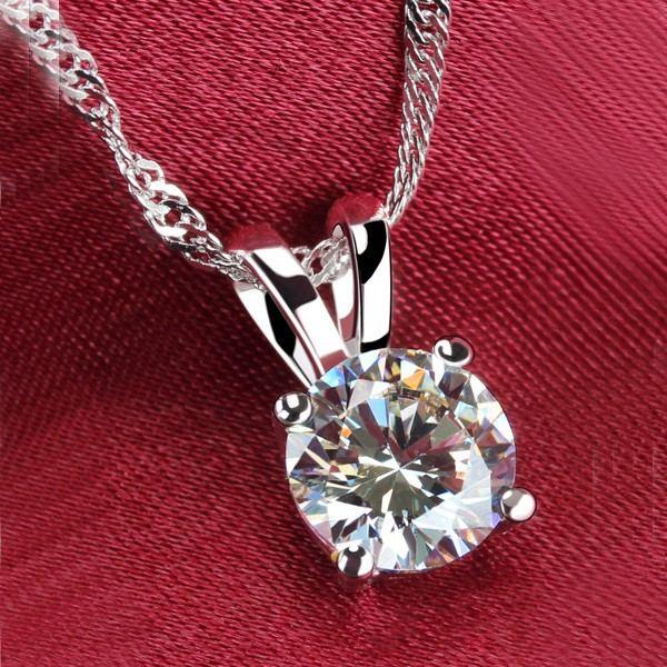 Exquisite Runde Sona Diamant Anhänger Platiniert 925 Sterling Silber Halskette