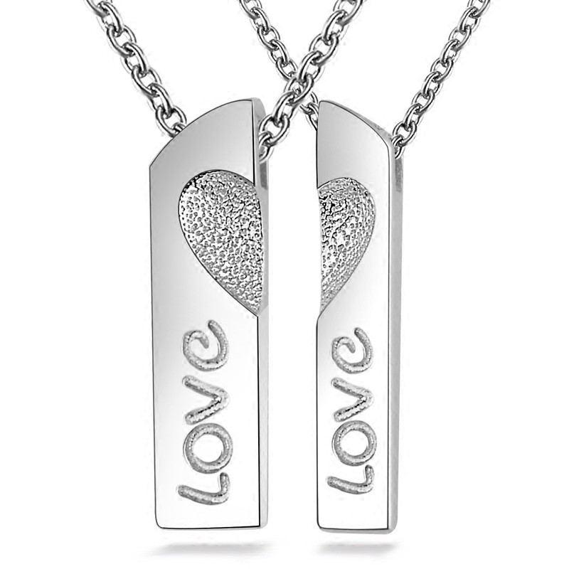 Geboren Aus Einem Paar Herzförmiger 925Er Sterling Silber Liebhaber Halskette