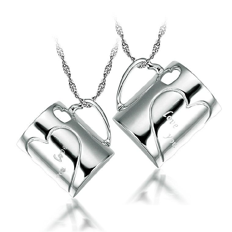 Herzförmige Tasse 925 Sterling Silber Paar Halsketten