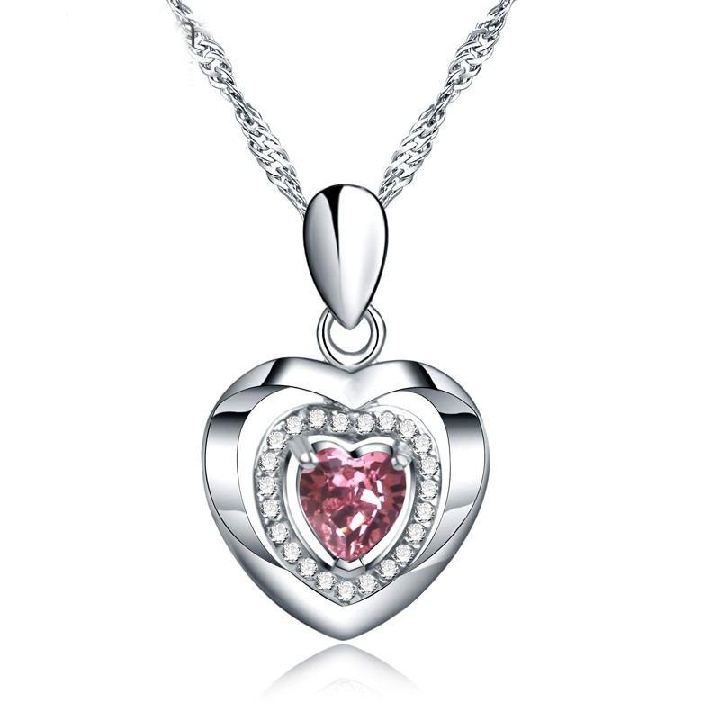 Klassische Herzförmige Halskette Aus Zirkonia Aus Silber Mit S925-Silbereinlage