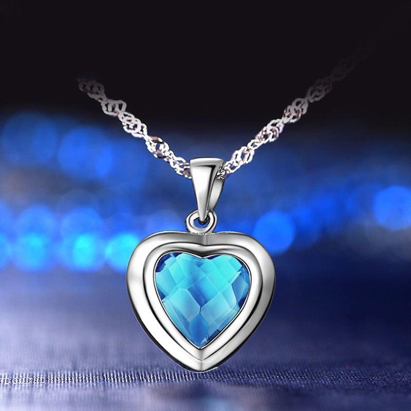 Korea Neue 925 Sterling Silber Eingelegte Blaue Zirkonia Halskette