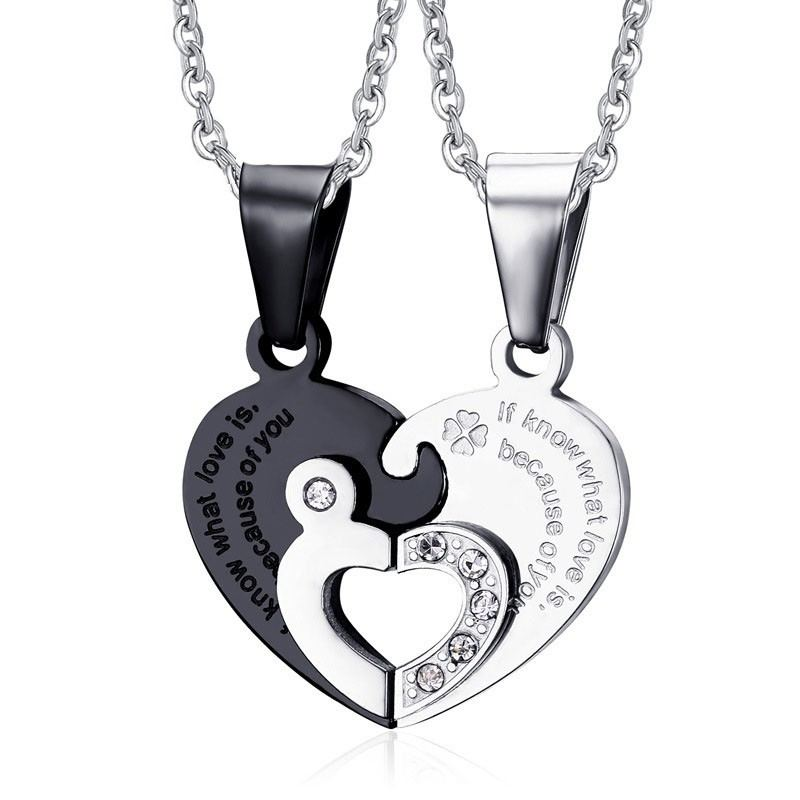 Koreanische Mode Neue Liebe Puzzle Titan Stahl Liebhaber Halsketten