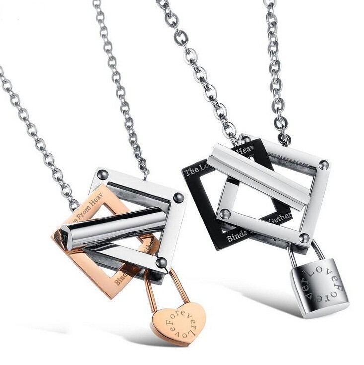 Koreanische Mode Titan Stahl Paar Halsketten