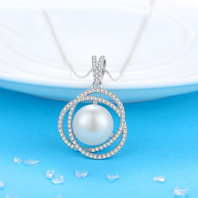 Kreatives Edles Temperament 925 Silber Eingelegte Natürliche Perlenkette
