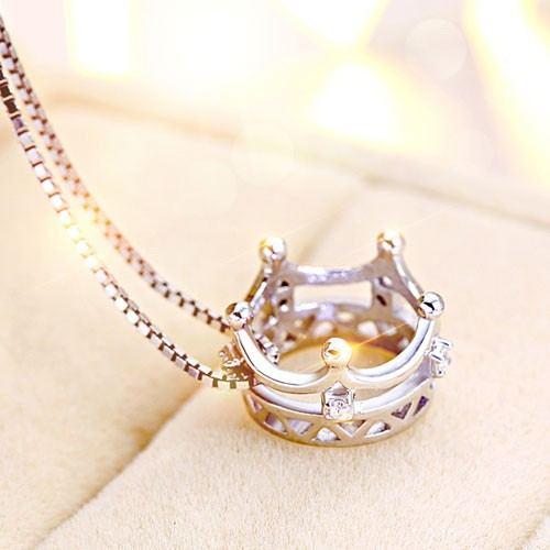 Krone Aus 925Er Sterlingsilber Mit Kristallanhänger-Halskette