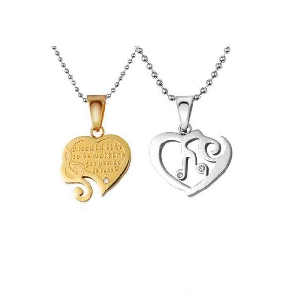 Liebeskombination Titan Stahl Paar Halsketten