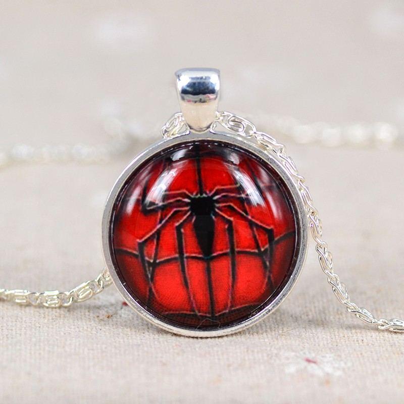 Mode Spider-Man Spinnenmuster Zeit Edelstein Halskette