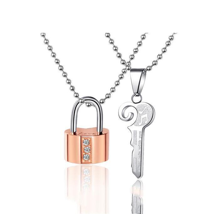 Mode Titan Stahl Keylock Paar Halsketten