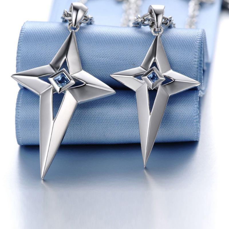 Modepaar Kreuz Anhänger Halskette 925 Silber
