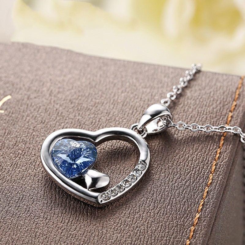 Neue Haben Gegenseitige Affinität S925 Silber Liebe Eingelegte Steine Halskette