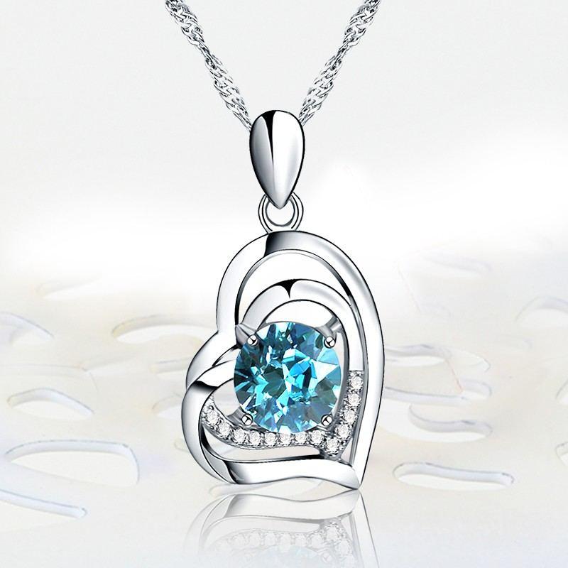 Perfektes Geschenk 925 Herzförmige Eingelegte Zirkonia-Halskette Aus Sterlingsilber
