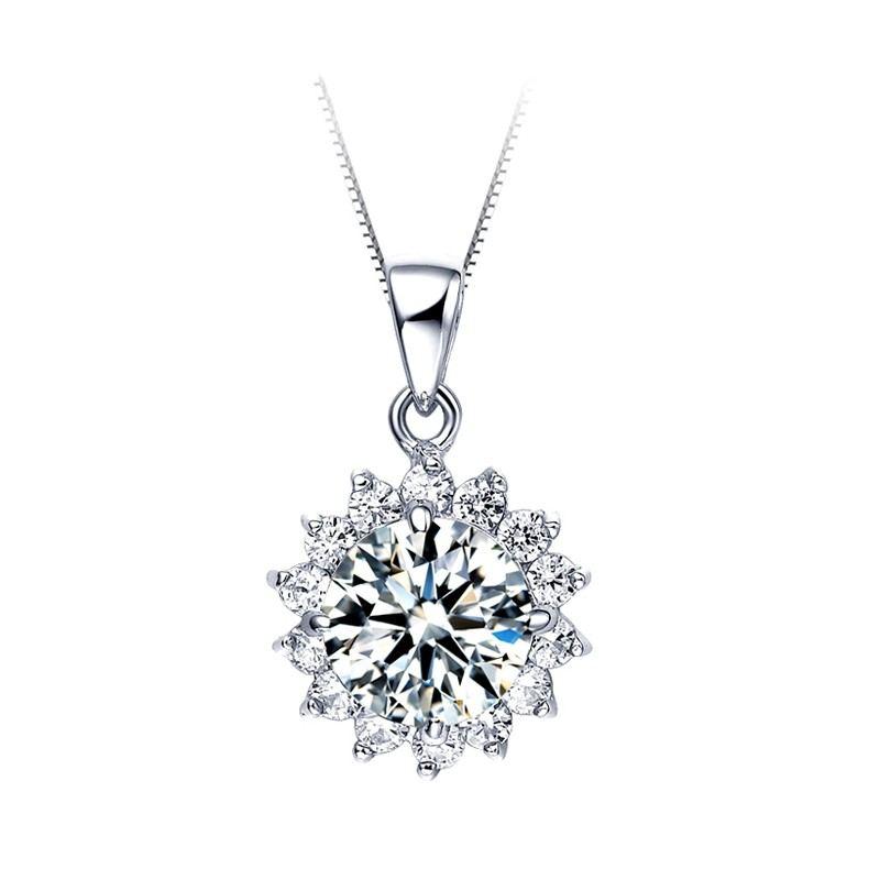 Romantische Und Charmante Sonnenblumen Serie S925 Silber Eingelegte Zirkonia Halskette