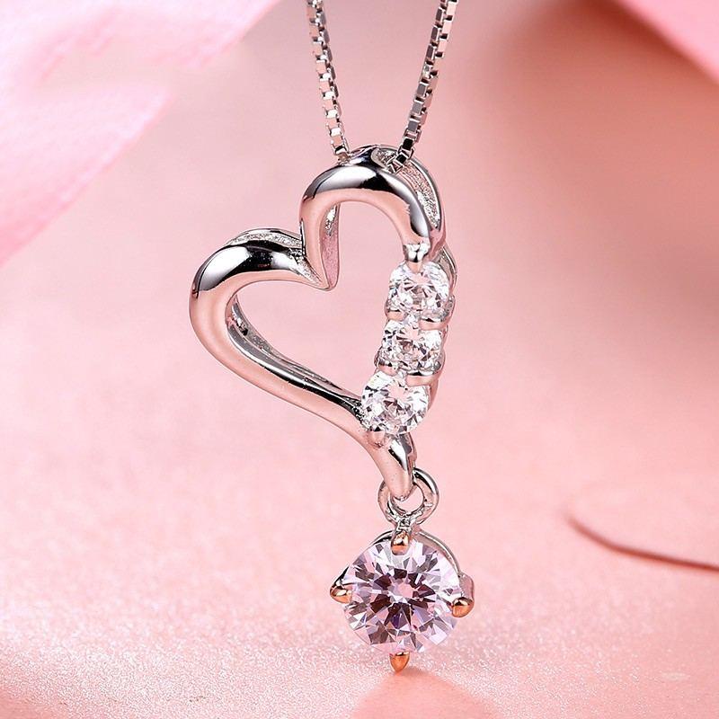 Romantisches Geschenk 925 Silber Eingelegte Herzförmige Zirkonia Halskette