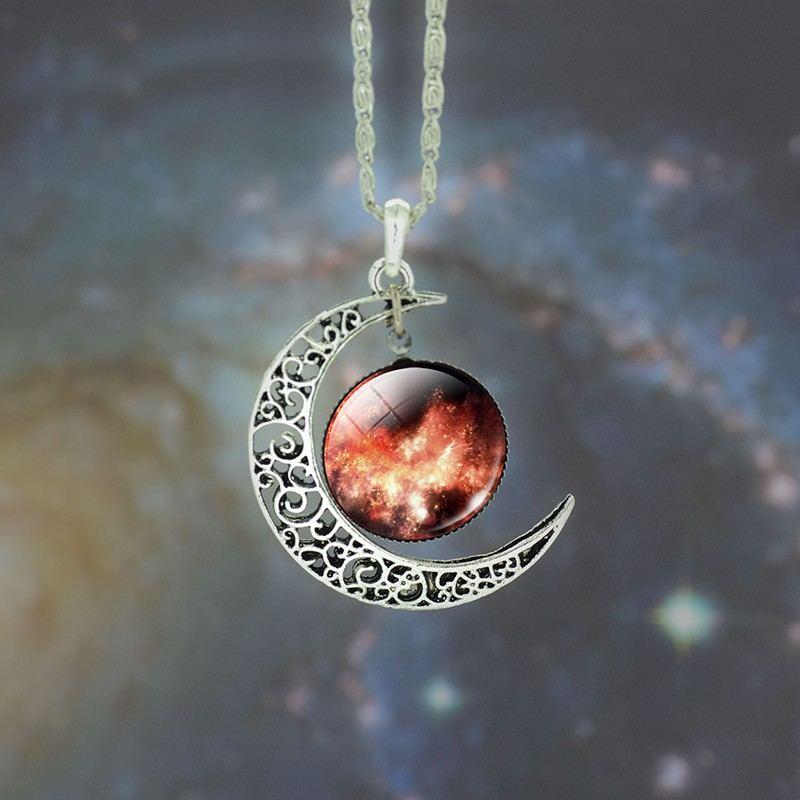 Rote Sternen Und Mondmuster-Zeitedelsteinkette