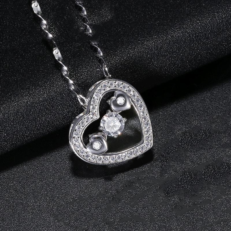 S925 Silber Glänzende Einfache Herzförmige Halskette