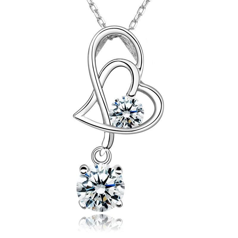 Schöne Bedeutung Herz Verbunden 925 Sterling Silber Eingelegt CZ Halskette