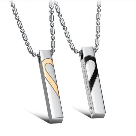 Schöne Herzmuster Titan Liebhaber Halsketten (Preis Für Ein Paar)