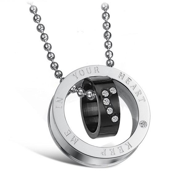 """Wunderschöne """"Have Mutual Affinity"""" Ring Anhänger Liebhaber Titan Halskette (Preis Für Ein Paar)"""