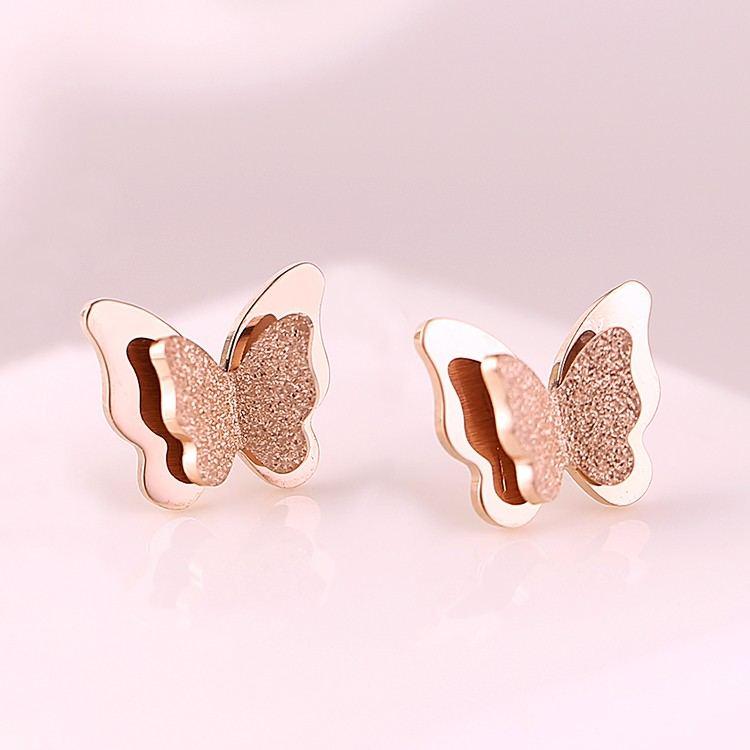 18 Karat Rosévergoldete Mode Matte Süße Schmetterlingsohrringe