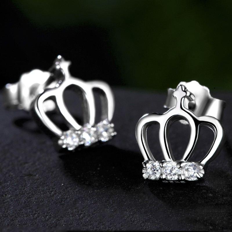Charmante Krone Aus Sterlingsilber Mit Kristallohrsteckerohrringen
