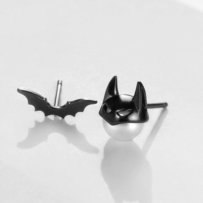 Fledermaus S925 Sterling Silber Ein Paar Perlenohrringe Für Mädchen Teenager Jungen Studenten Damen