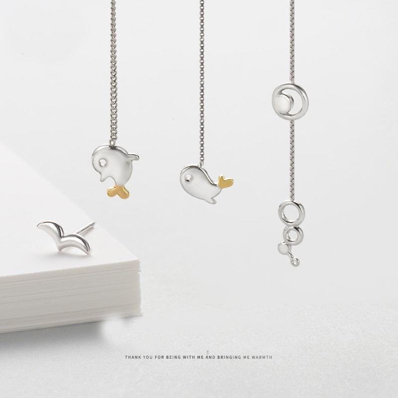 Fliegende Vögel Und Fische Oder Fischblase S925 Sterlingsilber Ein Paar Ohrringe Für Mädchen Teenager Jungen Studenten Damen