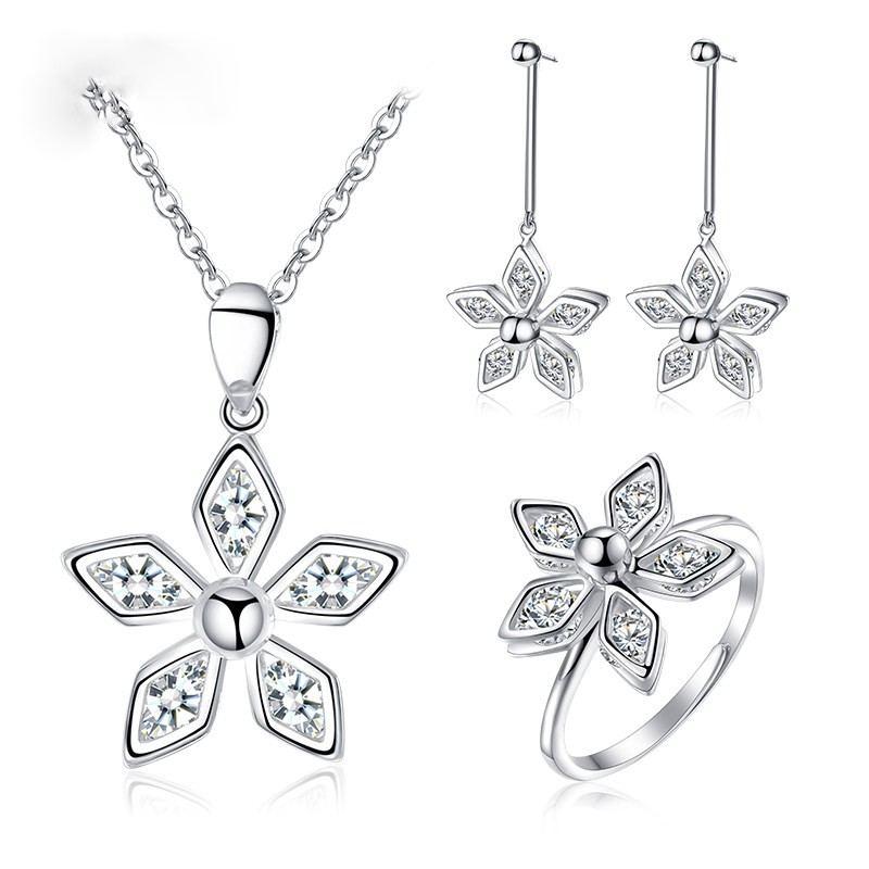 Glück Fünfblättrige Blume 925 Silber Mode Persönlichkeit Dame Halskette Ohrring Ring Set