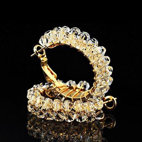Goldene Legierung Mit Transparenten Kristall-Luxus-Creolen Für Damen