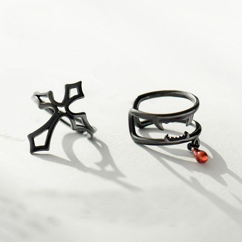Latin Cross & Vampir Sterlingsilber Ein Paar Schwarze Clip Ohrringe Für Mädchen Teenager Jungen Studenten Damen