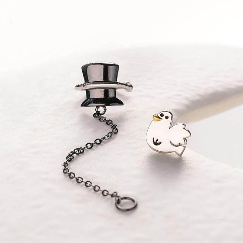 Magischer Hut Und Weiße Taube S925 Sterlingsilber Ein Paar Ohrringe Für Mädchen Teenager Jungen Studenten Damen