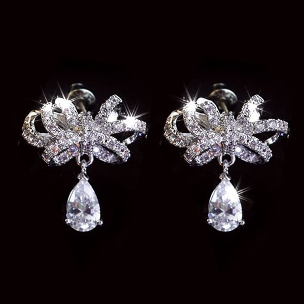 Mode All-Match Bowknot Form Kristall 925 Sterlingsilber Ohrringe