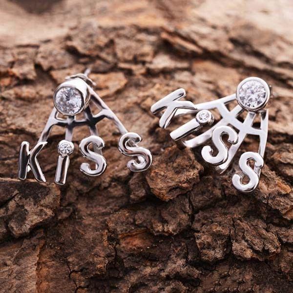 Mode Schöne Strass Kuss Form 925 Sterlingsilber Damen Clip Ohrringe