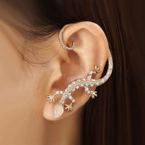 Modischer Exquisiter Kristallgecko Mit Vergoldeter Damenmanschette Aus Opalkopflegierung Für Das Linke Ohr