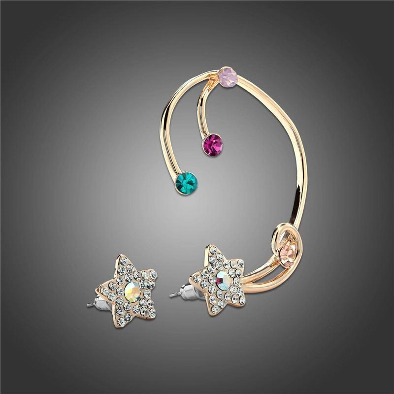 New Fashion Crystal Star Ohrring Für Rechts Und Ohrstulpe Für Links