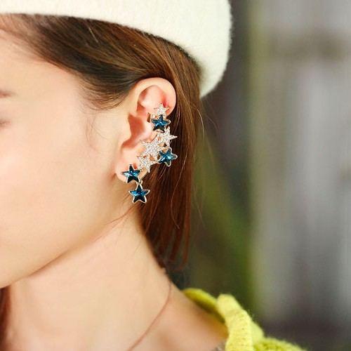 Ohrmanschette Für Damen Mit Blauem Und Weißem Kristallstern