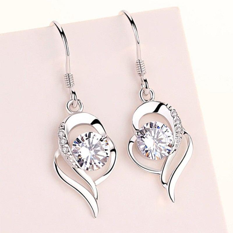 Perfektes Valentinstagsgeschenk 925 Silberherz Damenmode Ohrring