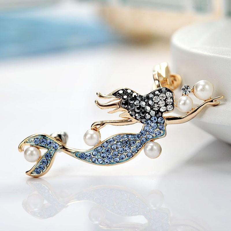 Romantische Farbe Kristalline Meerjungfrau Design Rechte Seite Ohrstulpe