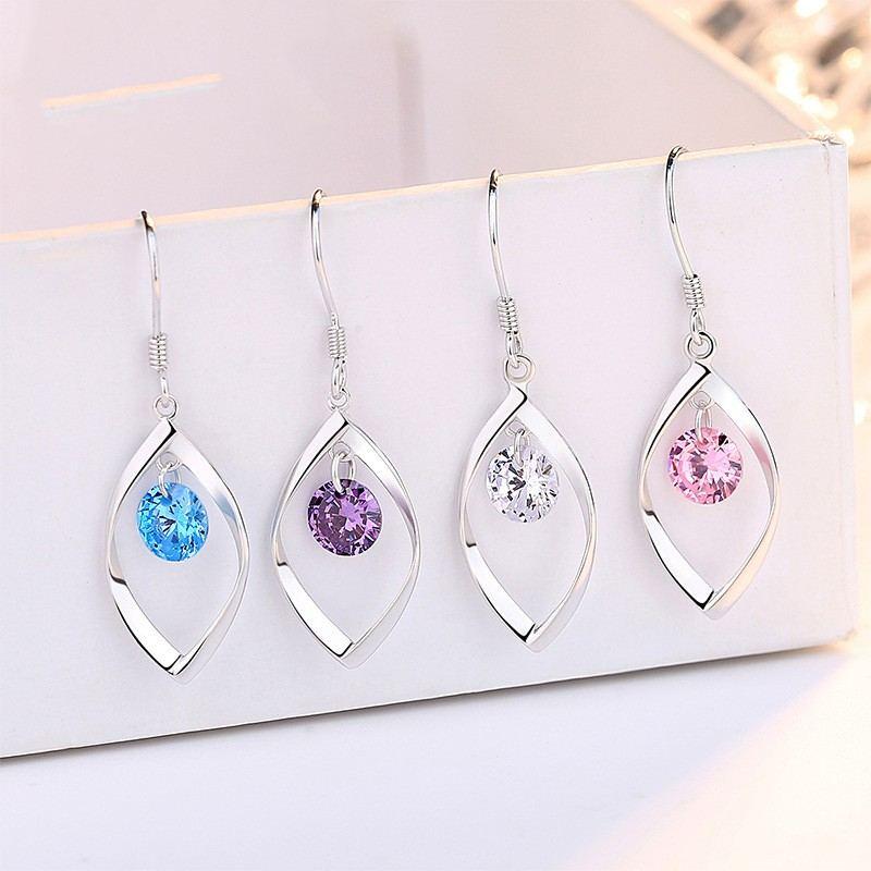 Rosa Blau Lila Weiß Ohrringe Für Damen Freundin Sterlingsilber Baumeln Ohrringe Schmuck Geschenke Zum Weihnachtsjubiläum
