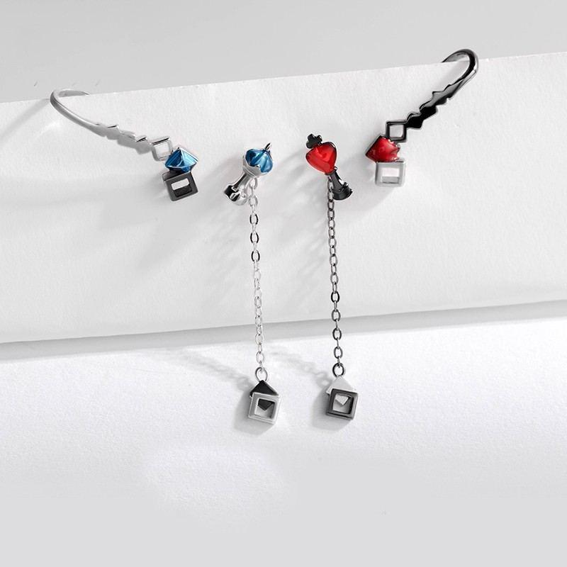 Schach S925 Sterling Silber Rot Oder Blau Ein Paar Ohrringe Für Mädchen Teenager Jungen Studenten Damen