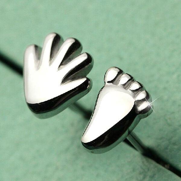 Schöne Hand Und Fußform 925Er Sterlingsilberohrstecker