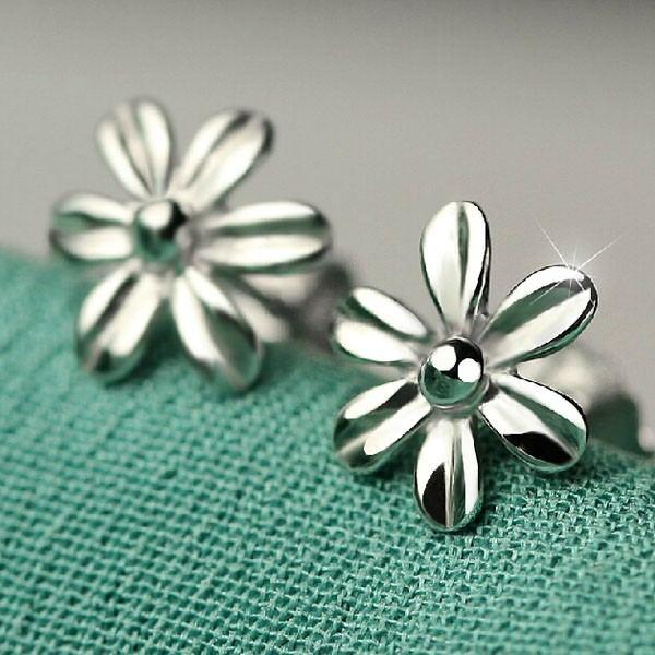 Schönheit Retro Blume 925 Sterling Silber Ohrstecker Für Mädchen