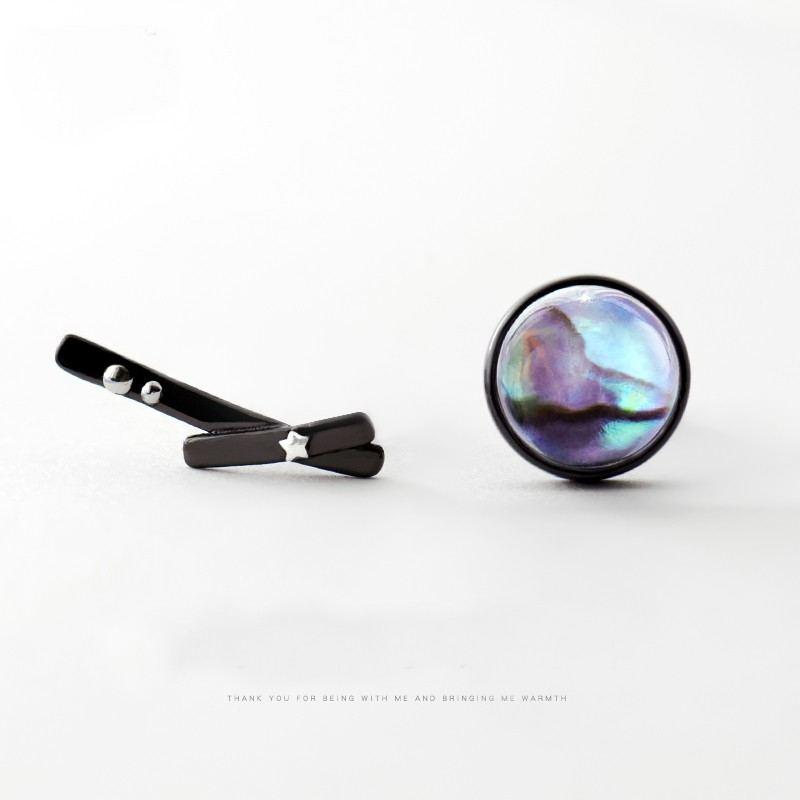 Stern & Galaxie S925 Sterlingsilber Schwarz Ein Paar Künstliche Kristall & Muschel Ohrringe Für Mädchen Teenager Jungen Studenten Damen