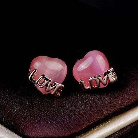 Süßes Kristallrosa Herz & Liebe Damenmode Ohrring