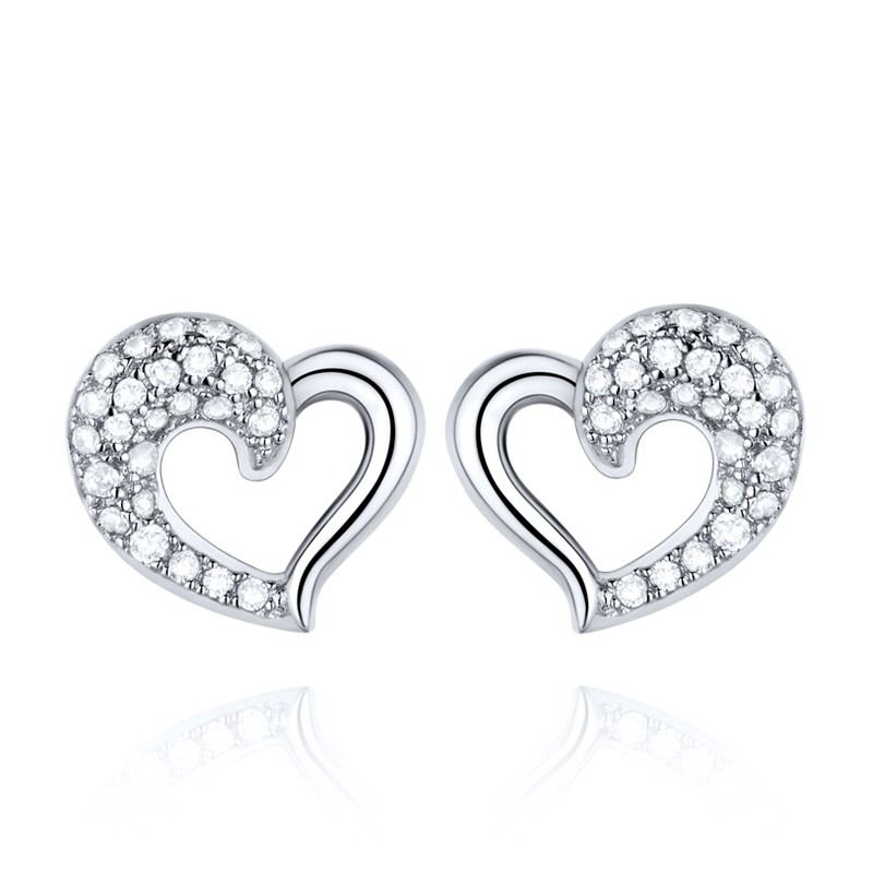 Versilberte Platinfarbene Handgefertigte Herzförmige Ohrringe